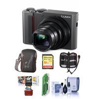 Panasonic Lumix DMC-ZS200 Digital Point & Shoot Camera, Silver - Bundle With 32GB SDHC U3 Card, Camera Case, Cleaning Kit, Memory Wallet, Card reader, Mac Software Package