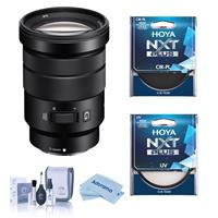 Image of Sony E PZ 18-105mm F4.0 G OSS E-Mount Lens - Bundle With Hoya NXT Plus 72mm 10-Layer HMC UV Filter, HOYA 72mm NXT Circular Polarizer Filter, Cleaning Kit, Microfiber Cloth