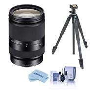 Image of Sony E 18-200mm f/3.5-6.3 OSS LE E-Mount Lens - With Slik Sprint Pro III BH Travel Tripod with SBH-100 DQ All Metal Ball Head Black, Cleaning Kit, Microfiber Cloth
