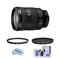 Image of Sony FE 24-105mm f/4 G OSS E-Mount Lens - Bundle With Hoya NXT Plus 77mm 10-Layer HMC UV Filter, HOYA 77mm NXT Circular Polarizer Filter, Cleaning Kit, Microfiber Cloth
