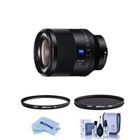 Image of Sony Planar T* FE 50mm F1.4 ZA Lens - Bundle With Hoya NXT Plus 55mm 0-Layer HMC UV Filter, Hoya NXT Plus 55mm HMC Circular Polarizer Filter, Cleaning Kit, Microfiber Cloth