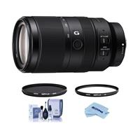 Image of Sony E 70-350mm f/4.5-6.3 G OSS Lens - Bundle With Hoya NXT Plus 67mm HMC UV Filter, Hoya NXT Plus 67mm HMC Circular Polarizer Filter, Cleaning Kit, Microfiber Cloth