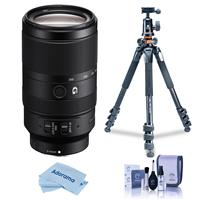 Image of Sony E 70-350mm f/4.5-6.3 G OSS Lens - Bundle With Vanguard Alta Pro 264AT Tripod and TBH-100 Head with Arca-Swiss Type QR Plate, Cleaning Kit, MicroFiber Cloth