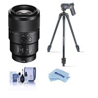 Image of Sony FE 90mm f/2.8 Macro G OSS Lens - With Slik Sprint Pro III BH Travel Tripod with SBH-100 DQ All Metal Ball Head, Black, Cleaning Kit, Microfiber Cloth