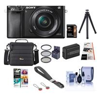 Image of Sony Alpha A-6000 Digital Camera with 16-50mm E-Mount Lens, Black - Bundle with Camera Bag, 64GB SDXC Card, Spare Battery, Tripod, 40.5mm Filter Kit, Peak Cuff Wrist Strap, Cleaning Kit, Software Pack