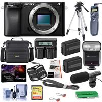 Sony Alpha a6100 Mirrorless Camera Body - Bundle With Camera Case, 64GB SDHC Card, 2x Spare Battery, Dual Charger, Tripod, Zoom-Mini TTL R2 Flash, On Camera Shotgun Mic, Software Pack, And More