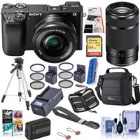 Sony Alpha a6100 Mirrorless Digital Camera with 16-50mm & 55-210mm Lenses - Bundle With Camera Case, 64GB SDHC Card, Spare Battery, Compact Charger, Tripod, LCD Protector Cover, Software, And More