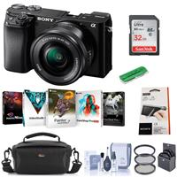 Sony Alpha a6100 Mirrorless Digital Camera with 16-50mm Lens - Bundle With Camera Case, 32GB SDHC Card, 40.5mm Filter kit, Card Reader, LCD Protector Cover, Cleaning Kit, PC Software Package