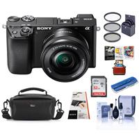 Sony Alpha a6100 Mirrorless Digital Camera with 16-50mm Lens - Bundle With Camera Case, 32GB SDHC Card, 40.5mm Filter kit, Card Reader, LCD Protector Cover, Cleaning Kit, Mac Software Package