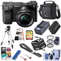 Sony Alpha a6100 Mirrorless Digital Camera with 16-50mm Lens - Bundle With Camera Case, 64GB SDHC Card, Spare Battery, Compact Charger, Tripod, LCD Protector Cover, , PC Software Pack And More