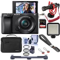Image of Sony Alpha a6400 24.2MP Mirrorless Digital Camera with 16-50mm f/3.5-5.6 OSS Lens - Bundle With RODE Compact On-Camera Mic, 64GB SDXC Card, Peak Cuff Wrist Strap, Mini LED Light, 40.5 Filter Kit, More