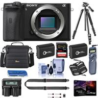 Sony Alpha a6600 Mirrorless Camera Body - Bundle With Camera Case, 128GB SDXC Memory Card, 2x Spare Battery, Tripod, Dual Charger, Remote Shutter Release, Peak SlideLITE Strap, PC Software, And More