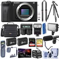 Sony Alpha a6600 Mirrorless Camera Body - Bundle With Camera Case, 128GB /64 SDXC Memory Cards, 2x Spare Battery, Tripod, Dual Charger, Zoom-Mini TTL R2 Flash, LED Light, Shotgun Mic, And More