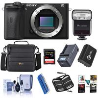 Sony Alpha a6600 Mirrorless Camera Body - Bundle With Camera Case, 64GB SDXC U3 Memory Card, Spare Battery, Zoom-Mini TTL R2 Flash, Compact Charger, Cleaning Kit, Memory Wallet, Card Reader, Software