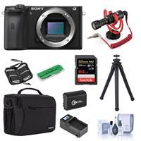 Sony Alpha a6600 Mirrorless Camera Body - Bundle With Camera Case, 64GB SDXC U3 Memory Card, Spare Battery, RODE Compact On-Camera Mic, Table Top Tripod, Compact Charger, Cleaning Kit, And More