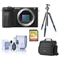 Sony Alpha a6600 Mirrorless Digital Camera Body - Bundle With Camera Case, 64GB SDXC Memory Card, Vanguard VEO 2 235CB 5-Section Carbon Fiber Tripod with BH-50 Ball Head Gray, 55mm Filter kit