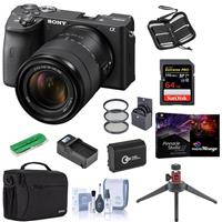 Sony Alpha a6600 Mirrorless Digital Camera with 18-135mm Lens - Bundle With Camera Case, 64GB SDXC U3 Memory Card, Spare Battery, Table Top Tripod, Compact Charger, 55mm Filter Kit, PC Software, More