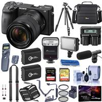 Sony Alpha a6600 Mirrorless Camera with 18-135mm Lens - Bundle With Camera Case, 128GB /64 SDXC Memory Cards, 2x Batteries, Tripod, Dual Charger, Zoom-Mini TTL R2 Flash, LED Light, Shotgun Mic, More