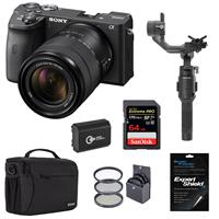 Sony Alpha a6600 Mirrorless Digital Camera with 18-135mm Lens - Bundle With DJI Ronin-SC Gimbal Stabilizer, 64GB SDXC Card, Camera Case, Battery, Screen Protector, 55mm Filter Kit