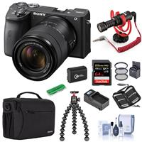 Image of Sony Alpha a6600 Mirrorless Camera with 18-135mm Lens - Bundle With Camera Case, 64GB SDXC U3 Memory Card, Spare Battery, RODE Compact On-Camera Mic, Joby GorillaPod 3K Kit, Compact Charger, And More