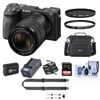 Sony Alpha a6600 Mirrorless Digital Camera with 18-135mm Lens - Bundle With Camera Case, 64GB SDXC Card, Hoya 55mm UV filter, Hoya 55mm CPL Filter, Spare Battery, Compact Charger, And More
