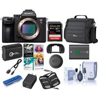 Sony Alpha a7 III 24MP UHD 4K Mirrorless Digital Camera (Body Only) - Bundle 32GB SDHC U3 Card, Camera Case, Spare Battery, Cleaning Kit, Memory wallet, Card Reader, PC Software Package