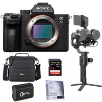 Sony Alpha a7 III 24MP UHD 4K Mirrorless Digital Camera - Bundle With DJI Ronin-SC Gimbal Stabilizer Pro Combo, 64GB SDXC Memory Card, Camera Case, Spare Battery, Screen Protector