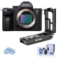 Sony Alpha a7 III 24MP UHD 4K Mirrorless Digital Camera (Body Only) - WITH Gitzo Aluminum L-Bracket for Sony a7R III & a9, Cleaning Kit, Microfiber Cloth