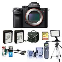 Sony a7R II Alpha Full Frame Mirrorless Digital Camera Body - Bundle with Camera Bag, 64GB Class 10 U3 SDXC Card, 2x Spare Battery, Cleaning Kit, Micro HDMI Cable, Pro Software Package, Remote SHutter, Video Light, Tripod