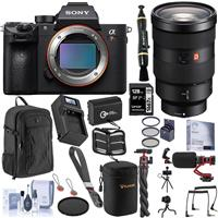 Image of Sony Alpha a7R III Mirrorless Digital Camera (V2) with FE 24-70mm f/2.8 GM Lens Bundle with 128GB SD Card, Backpack, Extra Battery, Charger, Wrist Strap, Mic, Filter Kit and Accessories