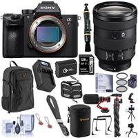 Image of Sony Alpha a7R III Mirrorless Digital Camera (V2) with FE 24-105mm f/4 G OSS Lens Bundle with 128GB SD Card, Backpack, Extra Battery, Charger, Wrist Strap, Mic, Filter Kit and Accessories