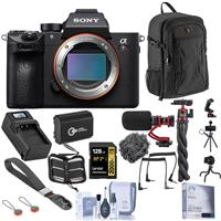 Image of Sony Alpha a7R IV Mirrorless Digital Camera Body (V2) Bundle with 128GB V90 SD Card, Backpack, Extra Battery, Charger, Mic, Octopus Tripod, Wrist Strap and Accessories