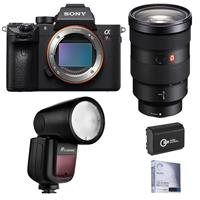 Image of Sony Alpha a7R IV Mirrorless Digital Camera (V2) with FE 24-70mm f/2.8 GM Lens Bundle with Flashpoint Zoom Li-on X R2 TTL On-Camera Round Flash Speedlight and Accessories