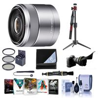 Image of Sony E 30mm F/3.5 E-Mount Lens, Silver - Bundle With Flex Lens Shade, 49mm Filter Kit, Lens Wrap, Table Top Tripod, Lens Pen Lens Cleaner, Capleash, Cleaning Kit, Software Package