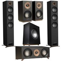 "Image of Jamo S 809 Dolby Atmos Floorstanding Speakers, Black, Pair - With S 810 SUB 10"" 150W 2-Channel Subwoofer, S 81 CEN Center Speaker Black, S 801 Bookshelf Speakers Black, Pair"