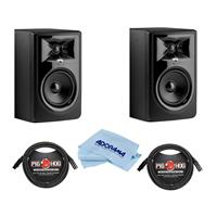 """Image of JBL 2 Pack 306P MkII Powered 6.5"""" Two-Way Studio Monitor - Bundle With 2 Pack 8mm XLR Microphone Cable 3 Pin XLR Male to 3 Pin XLR Female 10', Microfiber Cloth"""