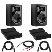 Image of JBL 2 Pack 306P MkII Powered 6.5-Inch Two-Way Studio Monitor (Black) Bundle with 2 Pack Isolation Pad, 2 Pack XLR M to XLR F Microphone Cable 15-Foot, Y Splitter Cable 10-Foot