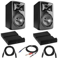 """Image of JBL 2 Pack 308P MkII Powered 8"""" Two-Way Studio Monitor Bundle with 2 Pack Isolation Pad for Studio Monitor, 2 Pack 15-Foot XLR M to XLR F Microphone Cable, Y Splitter Cable, 10-Foot"""