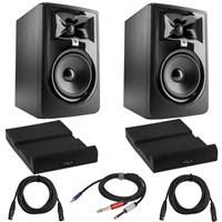 Image of JBL 2 Pack 305P MkII Powered 5-Inch Dual 41W Two-Way Studio Monitor (Black) Bundle with 2 Pack Isolation Pad, 2 Pack XLR M to XLR F Microphone Cable 15-Foot, Y Splitter Cable 10-Foot