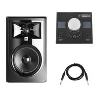 """Image of JBL 305P MkII Powered 5"""" Dual 41W Two-Way Studio Monitor - Mackie Big Knob Passive 2x2 Studio Monitor Controller - TRS 6' 1/4"""" Male to 1/4"""" TRS Male Cable with Rean Gold Connectors"""