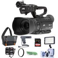 JVC GY-HM180 12.4MP 4K Ultra HD Camcorder 12x Optical Zoom - Bundle With 64GB SDXC U3 Card, Video Light, Shotgun Mic, Video Bag, Cleaning Kit, 62mm UV Filter, Card Reader, Memory Wallet
