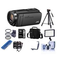JVC EverioR GZ-R460BUS Quad-Proof HD Camcorder with 4GB Internal Memory and 40x Zoom, Black - Bundle With 64GB SDHC U3 Card, 37mm UV Filter, Video Bag, Tripod, Video Light, Cleaning Kit, And More