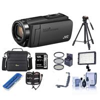 JVC GZ-R560BUS EverioR Quad-Proof HD Camcorder with 32GB Internal Memory Black - Bundle With 64GB SDHC U3 Card, 37mm UV Filter, Video Bag, Tripod, Video Light, Cleaning Kit, And More