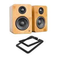 Image of Kanto YU2 2x 25W RMS Powered Desktop Speakers, Pair, Bamboo - With Kanto S2 Desktop Speaker Stands, Pair, Black