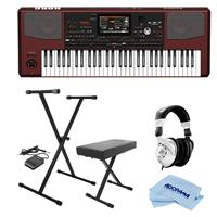 Image of Korg Pa1000 Professional Arranger Keyboard, 61 Semi-weighted Keys (C2-C7) - Bundle With On-Stage KPK6520 Keyboard Stand/Bench Pack with Sustain Pedal, H&A Closed-Back Studio Monitor Headphones, Cloth