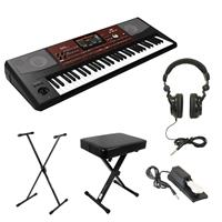 Image of Korg Pa700 61-Key Professional Arranger Workstation with Touchscreen, (Black) Essential Bundle with Bench, Stand, Sustain Pedal and H&A Studio Headphones