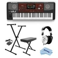 Image of Korg Pa700 Oriental 61 Keys Velocity Sensitive Pro Arranger Keyboard, Physical Quarter Tone SubScale Keypad - Bundle With On-Stage Keyboard Stand with Sustain Pedal, H&A Closed-Back Studio Monitor Headphones