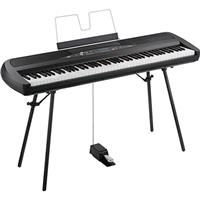 Korg 88 Key Portable Digital Piano with Speakers, 30 Sounds, 88 Weighted Hammer Action Keys, High-Output Amplifiers, Stereo Audio Input, Stand, Black