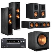 Image of Klipsch Reference Premiere 5.1 Channel Home Theater System - 2x RP-8060FA Floorstanding Speaker, SPL-150 Subwoofer, RP-504C Center Channel, 2x RP-600M Bookshelf, Ebony, Onkyo TX-NR797 Receiver