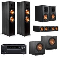 Image of Klipsch Reference Premiere 5.2 Home Theater System - 2x RP-8000F Floorstanding Speaker, 2x SPL-100 Subwoofer, RP-504C Center Channel, 2x RP-600M Bookshelf, Ebony, Onkyo TX-NR797 Receiver